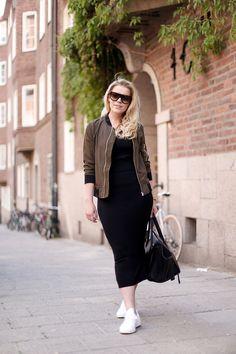 Green bomber jacket // black midi skirt // Celine bag // white Adidas sneakers // P.S. I love fashion by Linda Juhola