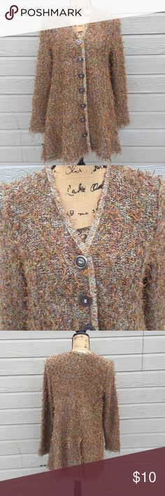 Furry Button Up Sweater (no fur used) Good condition, Button holes are a little worn like in picture. Carole Wang Sweaters Cardigans