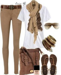 Beige  skinny jeans and brown, white T, an awesome leather sandal = summer chic.