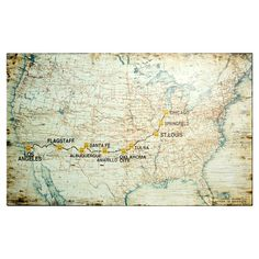 An eye-catching addition to your living room or den, this vintage-inspired wall decor features a map of Route 66.   Product: Wal...