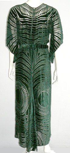 Egyptian Revival 1930s green velvet burnout evening dress.