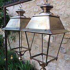 антикварные уличные фонари из латуни, середина 20 века
