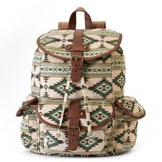Mudd Abigail Aztec Buckle Backpack (Green) ($22) ❤ liked on Polyvore featuring bags, backpacks, green, aztec backpack, aztec bag, aztec print backpack, buckle backpack y drawstring backpack