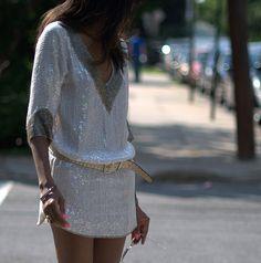 Sequin tunic dresses.