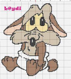 Cross Stitch Heart, Beaded Cross Stitch, Crochet Cross, Cross Stitch Animals, Disney Cross Stitch Patterns, Cross Stitch Designs, Bip Bip Et Coyote, Hello Kitty, Baby Looney Tunes