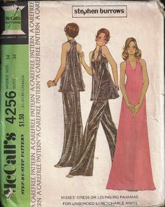 Vintage UNCUT McCalls 4256 Dress/Lounging Pajamas by SewReallyCute, $20.00