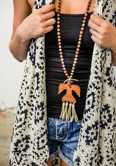 Leather Thunderbird w/ Tassels on Agate Stone Necklace ~ 36 inch
