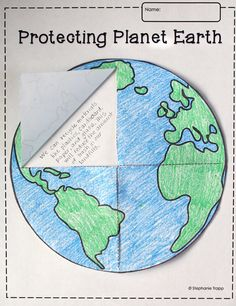 This free Earth template printable is perfect for the study of the solar system or Earth Day. Students can cut the template to create flaps, allowing them to write underneath once it's glued to a piece of paper or into a notebook. Earth Day Projects, Earth Day Crafts, School Projects, Primary Science, Science Classroom, Teaching Science, Science Notes, Teaching Art, Earth Day Activities