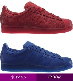 info for 69628 fdf1f Adidas Superstar Adicolor mens low-top sneakers red or blue casual shoes NEW