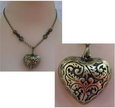 Burnished Gold Celtic Heart Pendant Necklace Jewelry Handmade NEW Chain