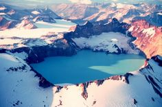 Crater lake on mountain Kamata, Alaska