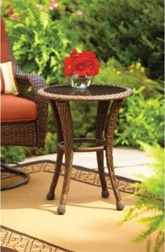 """PaTio Side Table WIth Glass Top Outdoor Furniture 20"""" Wicker Or Small End Table  #1"""