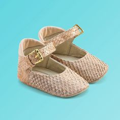 Baby Girl Shoes in Beige with strap. Handmade with fish skin, scale patterned, durable and smells like regular leather. The more it's worn, the better it looks! Genuine leather soft sole, they are so comfy for your baby's feet!