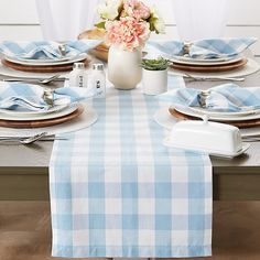 Blue Kitchen Curtains, Buffalo Check Table Runner, Light Blue Kitchens, Blue Table Settings, Buffalo Check Curtains, Kids Outdoor Furniture, Easter Table Decorations, Blue Bedding, Table Linens