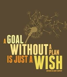 """A goal without a plan is just a wish"" - Antoine de Saint Exupery"