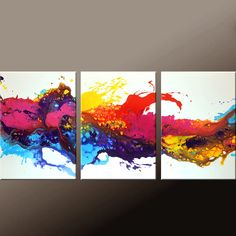 3pc Abstract Canvas Art Painting 54x24 Original by wostudios