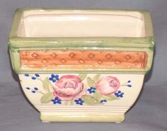 "Beautiful Hand Painted Planter with Pink Blue Flowers 6"" x 3 1 2"" x 4"" Tall 