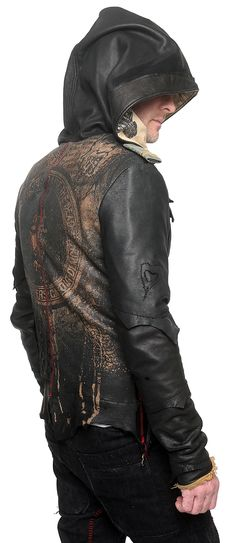 "Visions of the Future: Men's JUNKER DESIGNS - ""DELUXE"" Leather Hooded Jacket"