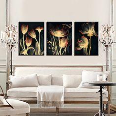 Op gespannen doek kunst Bloemen en planten Shining Dried Flower Set van 3 – EUR € 53.62