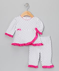 Raspberry Truffle Dot Wrap Top & Pants | Daily deals for moms, babies and kids