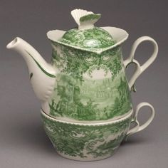 Green Castle Toile Porcelain Tea For One Teapot / Cyress Home Decor
