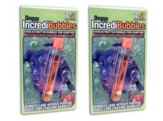 These bubbles are pet-safe and super FUN! They're also peach flavored!