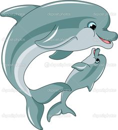 bebé y la madre de delfín - Ilustración de stock: 5473647