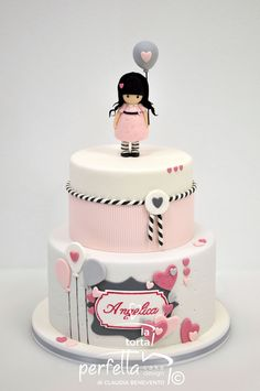 Baby First Birthday Cake, Cute Birthday Cakes, Beautiful Birthday Cakes, Girly Cakes, Teen Cakes, Fondant Cake Designs, Fondant Cakes, Cake Designs For Kids, Baby Girl Cakes