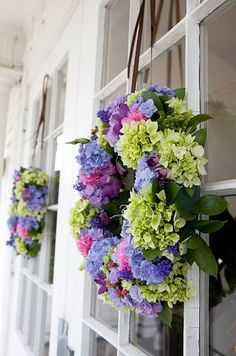 Purple and green floral wreaths