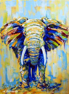 Africa Elephant decor Animal painting colorful Paintings On Canvas original art Extra Large framed Wall art Dinning Room palette knife Ship Paintings, Nursery Paintings, Elephant Paintings, Nursery Artwork, Colorful Animal Paintings, Elephant Wall Art, Whimsical Art, Animal Drawings, Canvas Wall Art