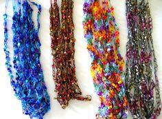 Pattern for Crocheted Yarn Ladder Ribbon yarn Necklace - Etsy Crochet Rings, Wire Crochet, Thread Crochet, Crochet Jewellery, Easy Crochet Patterns, Knitting Patterns, Crochet Ideas, Loom Knitting, Yarn Necklace