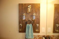 Pallet Wall Bathroom Hanging Shelf with by HandmadeByHarrison, $50.00