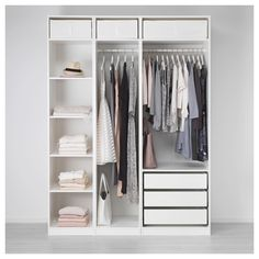 """IKEA - PAX, Wardrobe, 68 7/8x22 7/8x93 1/8 """", , 10-year Limited Warranty. Read about the terms in the Limited Warranty brochure.You can easily adapt this ready-made PAX/KOMPLEMENT combination to suit your needs and taste using the PAX planning tool.If you want to organize inside you can complement with interior organizers from the KOMPLEMENT series.Adjustable feet make it possible to compensate for any irregularities in the floor."""