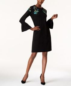 Olivia & Grace Embroidered Bell-Sleeve Mini Dress, Created for Macy's - Black/Multi XS