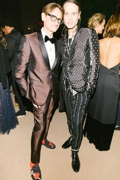 [object Object],'s Hamish Bowles in David Hart and Jordan Roth in Haider Ackermann