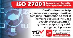 ISO 27001: Manage your Sensitive Company Information. Find out how we can assist. Visit: tuvat.asia/iso-27001-information-security/ or call Pakistan: +92 (42) 111-284-284 | Bangladesh +880 (2) 8836404 to speak with a representative. #ISO #TUV #certification #inspection #pakistan #iso27001 #iso9001 #bangladesh #lahore #karachi #dhaka #cyber #security