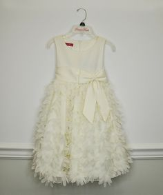 Look at this Ivory Flower Bow Dress - Toddler on #zulily today!