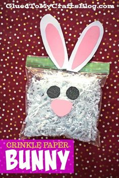 Plastic Baggie & Crinkle Paper Bunny - Toddler Craft - Easter Kid Craft Idea - Upcycled Spring Themed Art Project crafts for infants Plastic Baggie & Crinkle Paper Bunny - Toddler Craft Easter Crafts For Toddlers, Toddler Crafts, Preschool Crafts, Craft Activities, Diy Craft Projects, Diy Crafts, Craft Ideas, Handmade Crafts, Decor Crafts