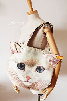 2 /Set Muchacha Ahcahcum Japan Cute 3D Pussy Cat Face Head Printed Shopping Tote Bag Shoulder Bag Purse Bag