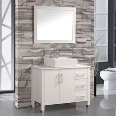 "Aruba 40"" Single Sink Bathroom Vanity Set with Mirror"