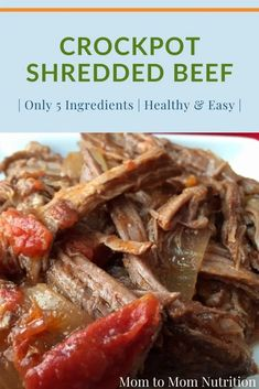 Crockpot shredded beef is the perfect protein for Mexican-inspired tacos, salads, soups, and stews. It's easy and healthy! Healthy Beef Recipes, Ground Beef Recipes Easy, Beef Recipes For Dinner, Healthy Lunches, Slow Cooker Recipes, Crockpot Recipes, Toddler Recipes, Baby Food Recipes, Weeknight Dinners