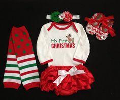 My First Christmas/ Baby girl's First Christmas red satin ruffle bloomer set/ Onesie/ Legwarmer/ Christmas Headband/ Birthday on Etsy, $54.99