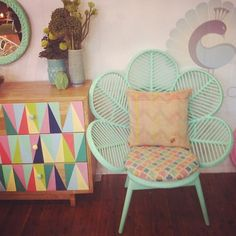 painted dresser, DIY furniture, geometric painted triangles, repurposed furniture