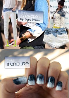 It's because I think too much: Dip Dyed Denim Manicure #nails