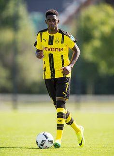 Dortmund's Ousmane Dembele poses during the team presentation of Borussia Dortmund on August 17 2016 in Dortmund Germany