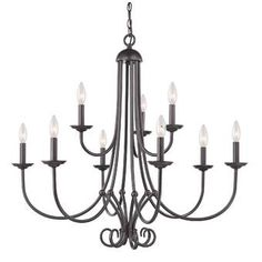 Cornerstone Williamsport 9 Light Chandelier In Oil Rubbed Bronze (Oil Rubbed Bronze Finish, 60 Candelabra Bulb), Thomas Lighting Bronze Chandelier, Candle Chandelier, Ceiling Chandelier, Candelabra Bulbs, Ceiling Lights, Chandelier Ideas, Empire Chandelier, Ceiling Ideas, Sloped Ceiling