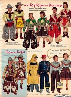 Vintage Boys & Girls Roy Rogers & Dale Evans clothes from a 1952 Sears catalog Cowboy Outfits, Western Outfits, Western Wear, Western Shirts, Christmas Catalogs, Christmas Books, Vintage Christmas, Vintage Cowgirl, Cowboy And Cowgirl