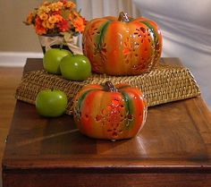 Home Reflections S/2 Porcelain Pumpkins with Candle & Timer — QVC.com