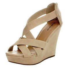 95a9f7712347 Top Moda Ella-18 Womens Strappy Open Toe Platform Beige Wedge Sandals (8)