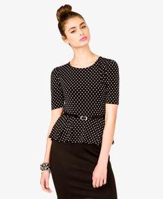 Polka Dot Peplum Dress w/ Belt   FOREVER21 - 2043999255